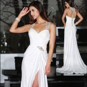 White Grecian style gown